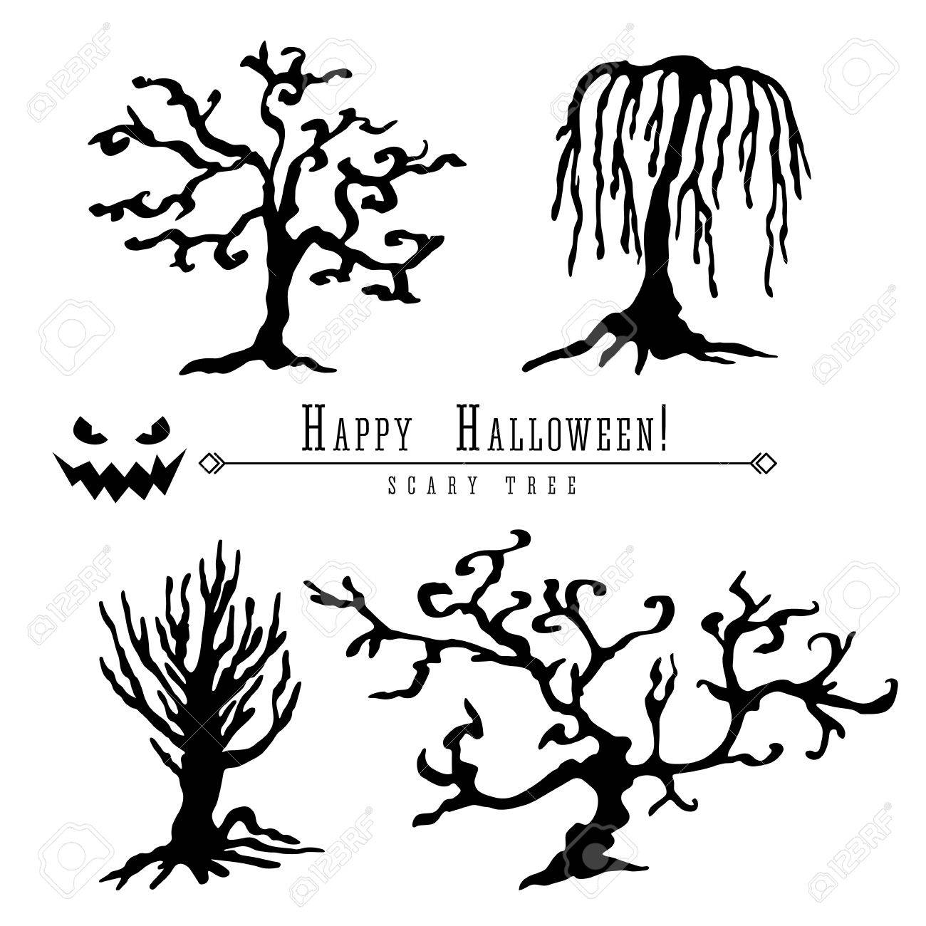 1300x1300 Scary Dead Trees Silhouette Vector Halloween Decoration Set