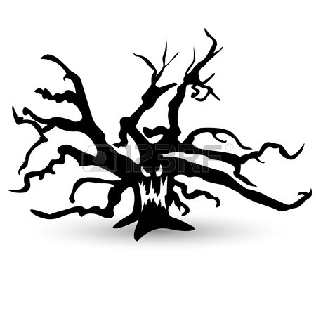 450x450 Set Of Halloween Vector Scary Trees. Black Illustration. Ghost