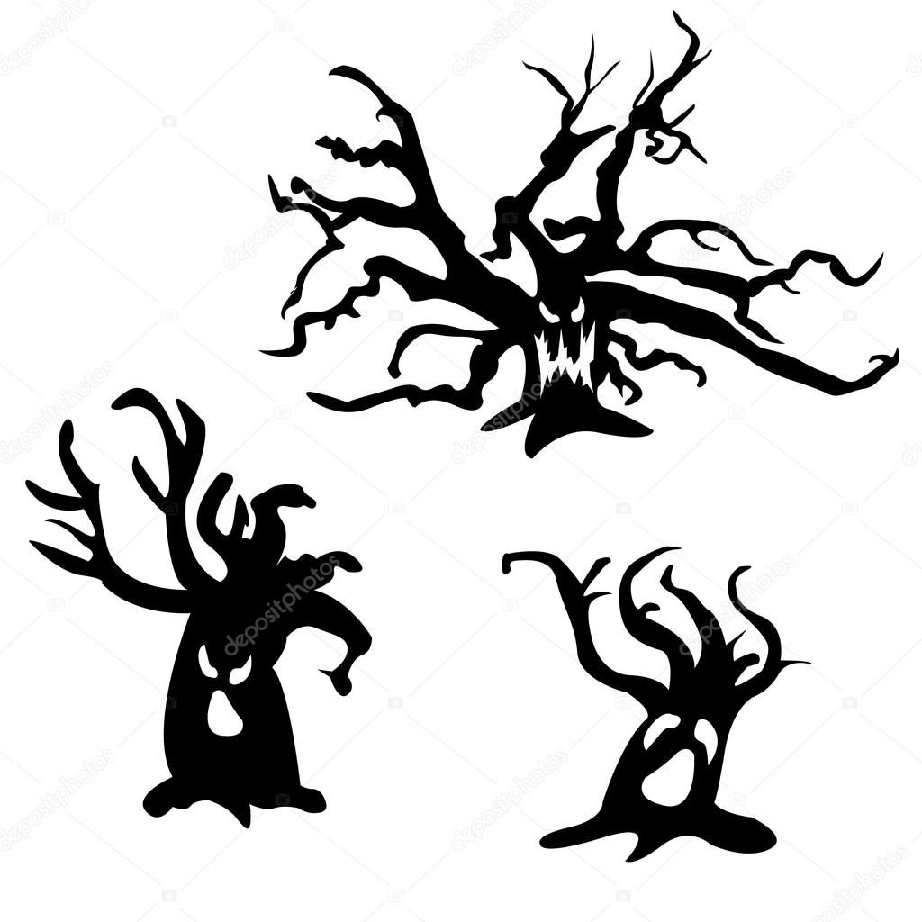 1024x1024 Set Of Halloween Scary Trees. Vector Illustration. Ghost Face