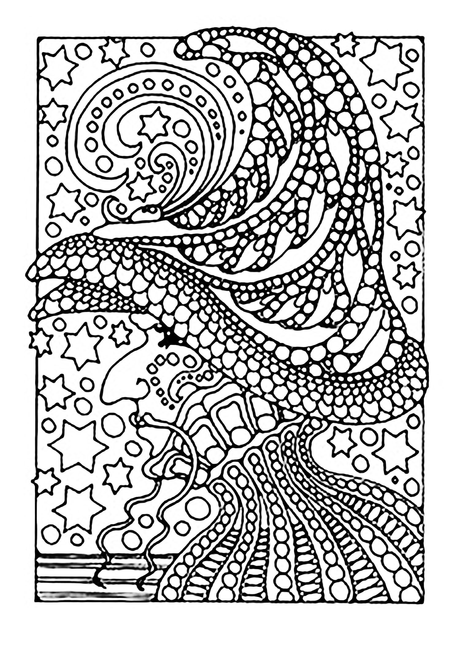 1500x2117 A Scary Witch ! Color All These Stars, From The Gallery Events