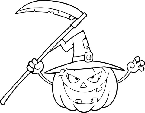 480x375 Scary Halloween Pumpkin With A Witch Hat And Scythe Coloring Page