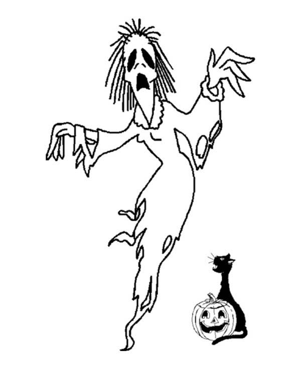 600x734 Scary Witch Came Out From Halloween Pumpkin Coloring Page Scary