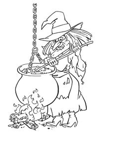 236x305 Cat And Witch Coloring Pages Witches, Halloween