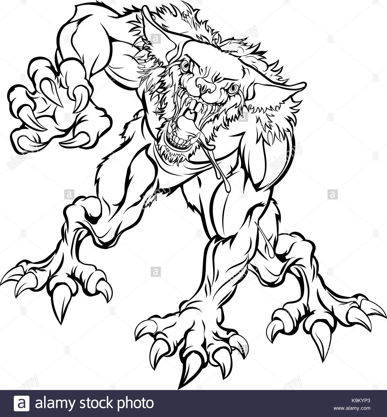 1289x1390 Scary Werewolf Monster Character Stock Vector Art Amp Illustration