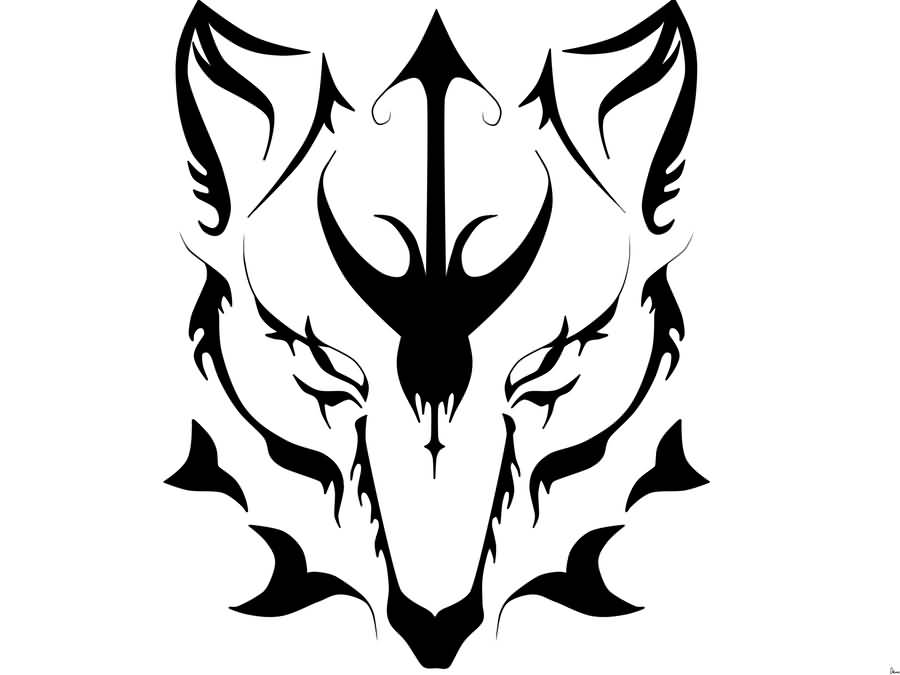 900x675 Tribal Dangerous Scary Wolf Face Stencil Tattoo Wolf