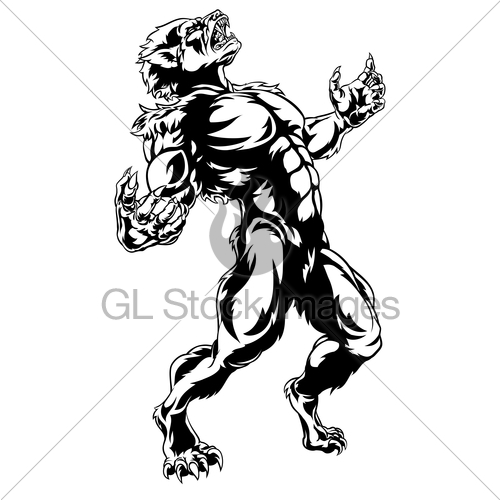 500x500 Werewolf Horror Monster Gl Stock Images