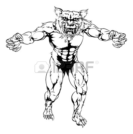 445x450 Wolf Werewolf Mascot Holding A Sign Royalty Free Cliparts, Vectors
