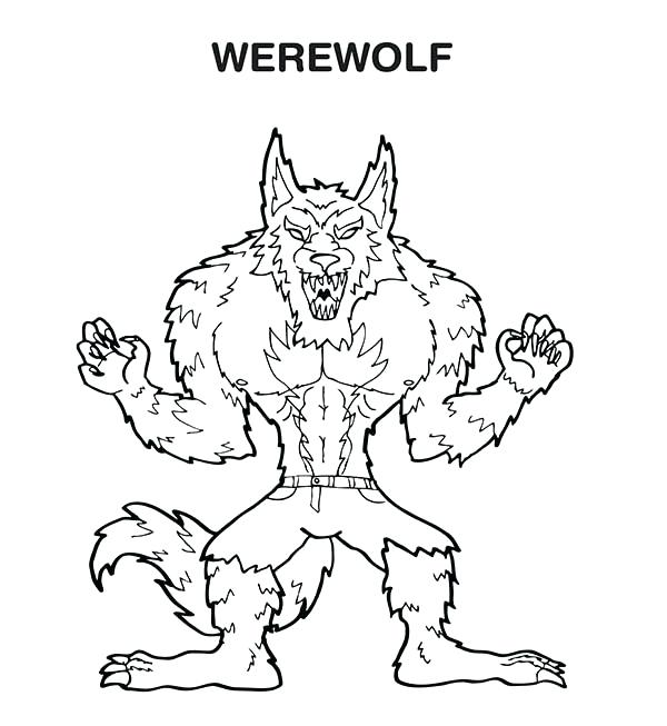 600x653 Werewolf Coloring Pages