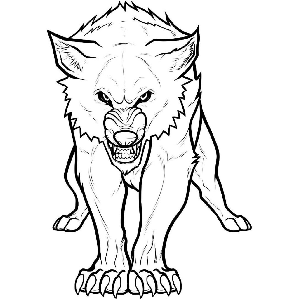 Simple wolves coloring pages