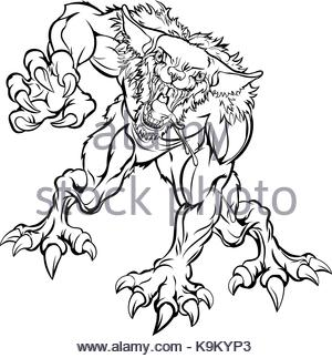 300x323 An Illustration Of A Werewolf Wolf Scary Sports Mascot With Claws