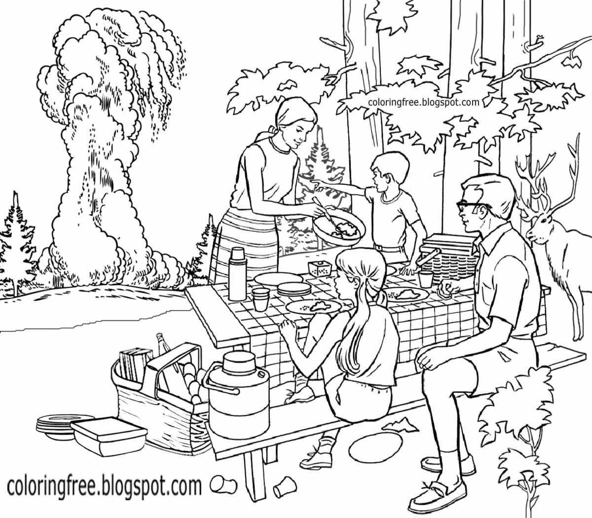 1200x1050 Drawing Of Picnic Scene