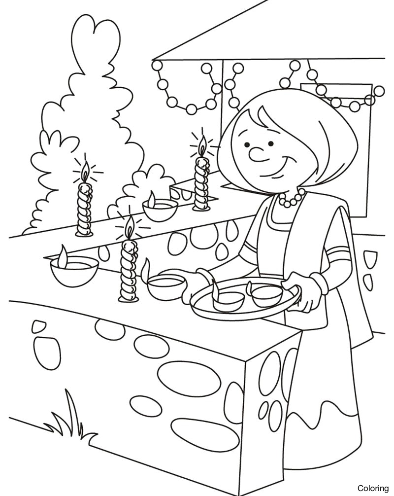 800x1006 Drawings On Diwali Festival For Children Paintings Scene Drawing