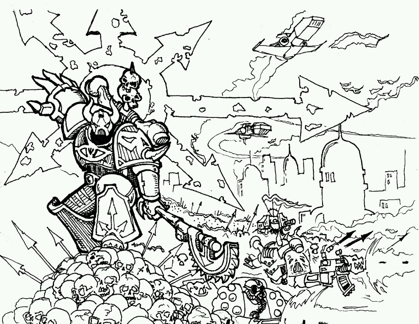 825x638 Line Drawing Of Warhammer 40,000 Chaos Space Marine Battle Scene