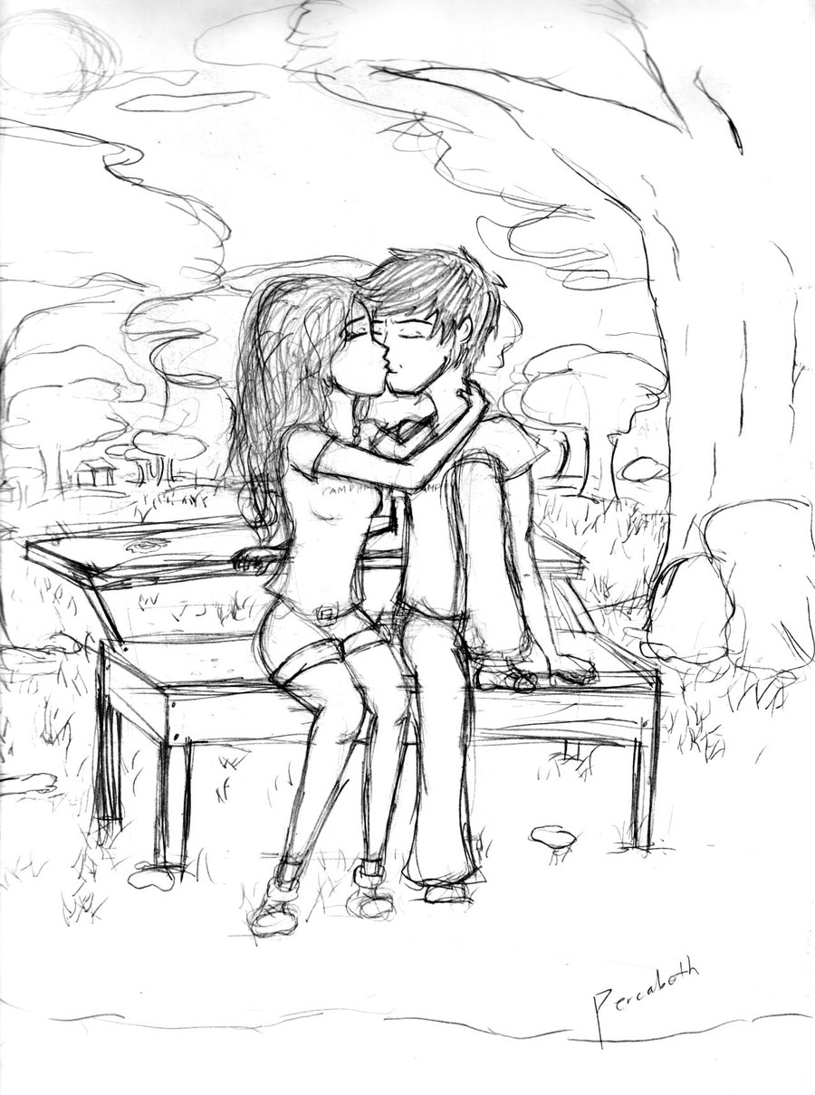 900x1210 Percabeth Bench Scene Sketch By Alicegal
