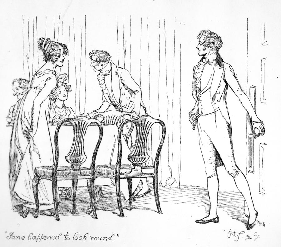 900x793 Scene From Pride And Prejudice By Jane Austen Drawing By Hugh Thomson