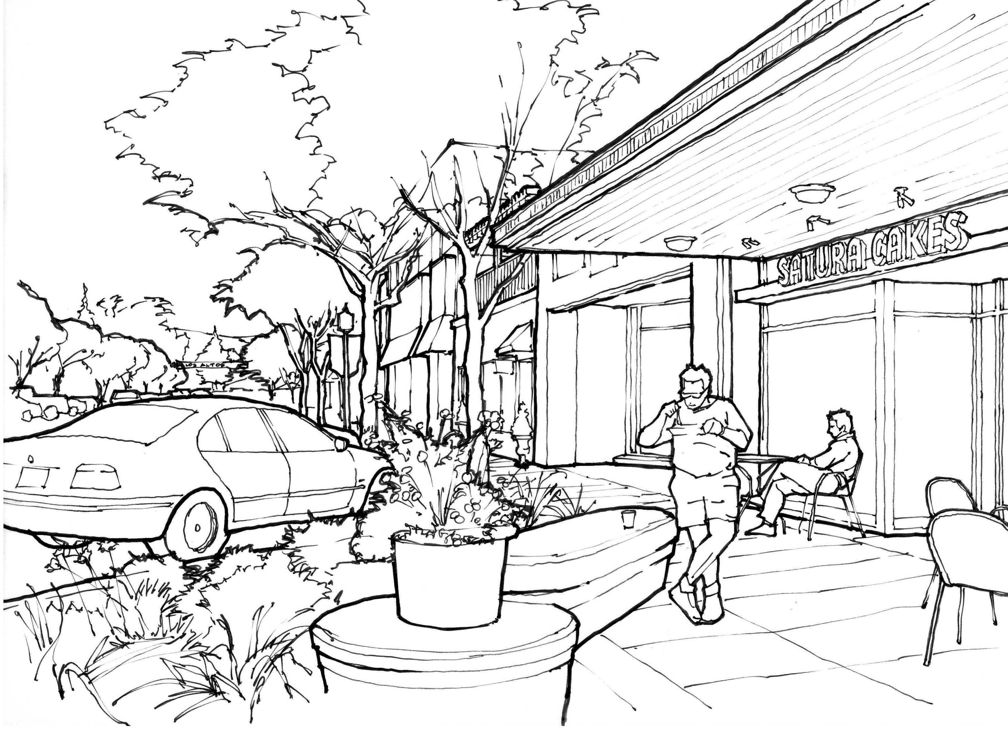 3509x2550 Street Scene Drawing