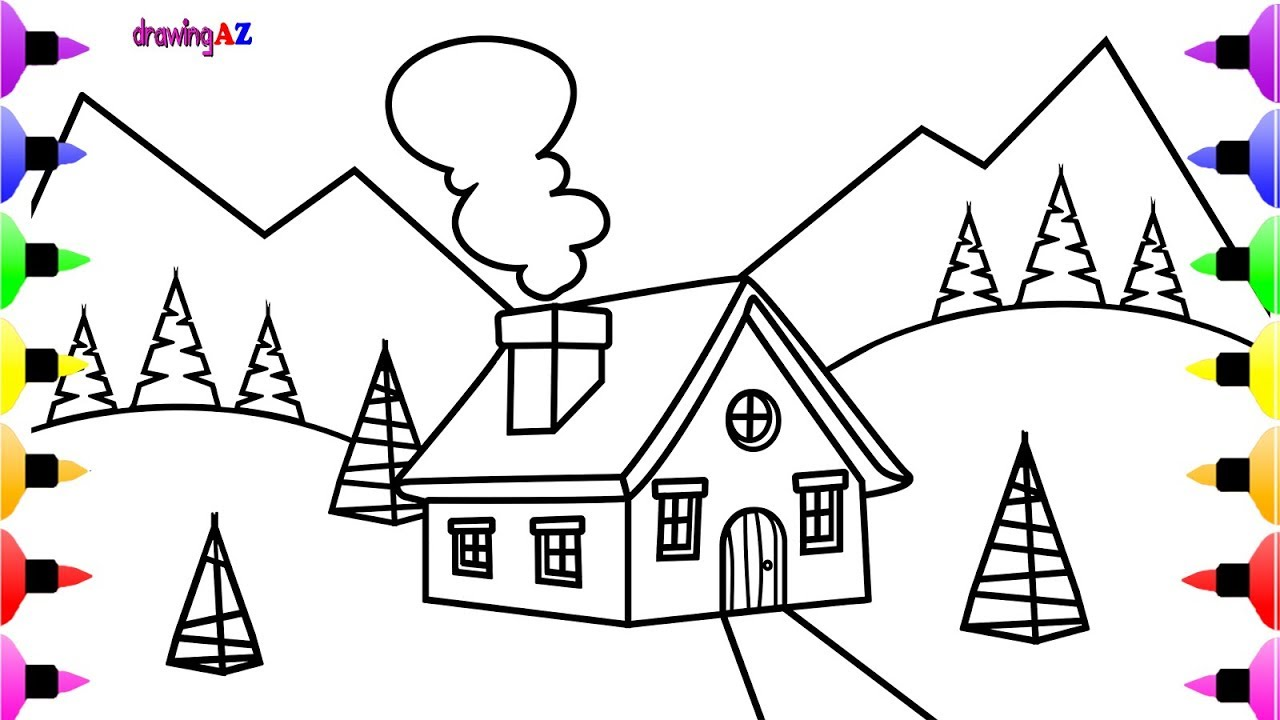 1280x720 Christmas Scene Coloring Page Christmas House Coloring Book