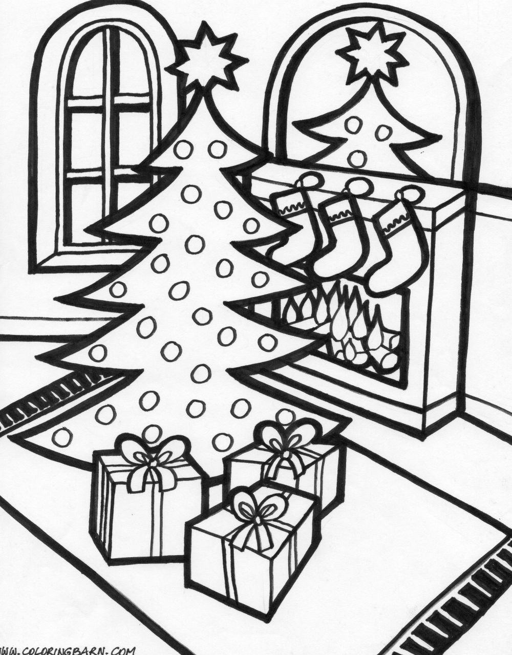 1000x1279 Christmas Scene Colouring Pages