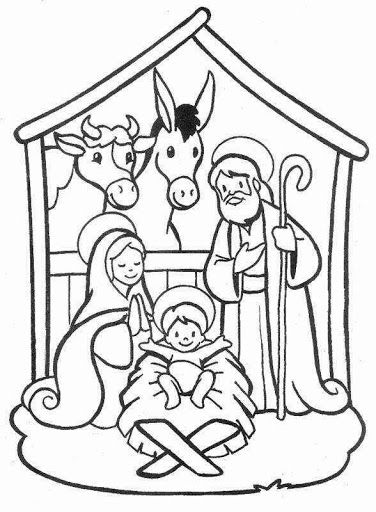 376x512 Nativity Scene, Christmas, Coloring Pages Sunday School