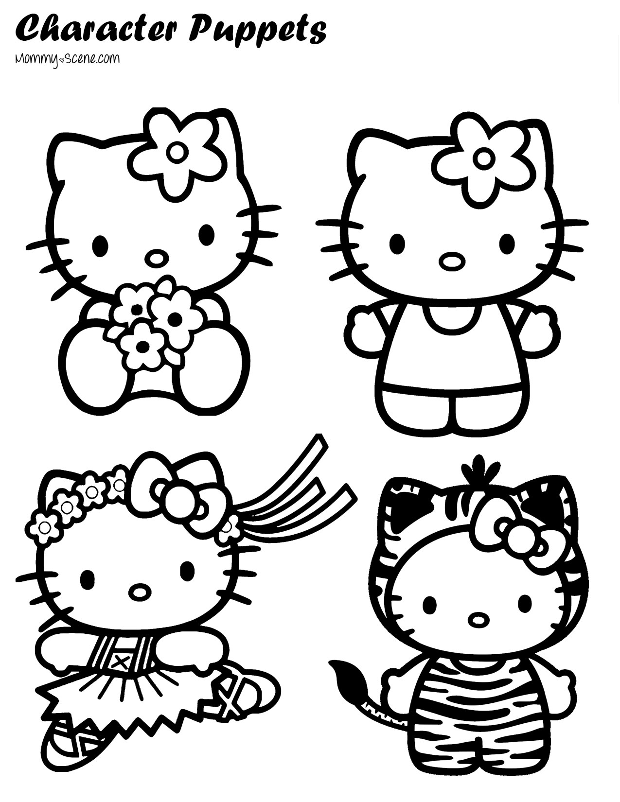 1275x1650 Paper Character Puppets Puppet, Hello Kitty And Kitty