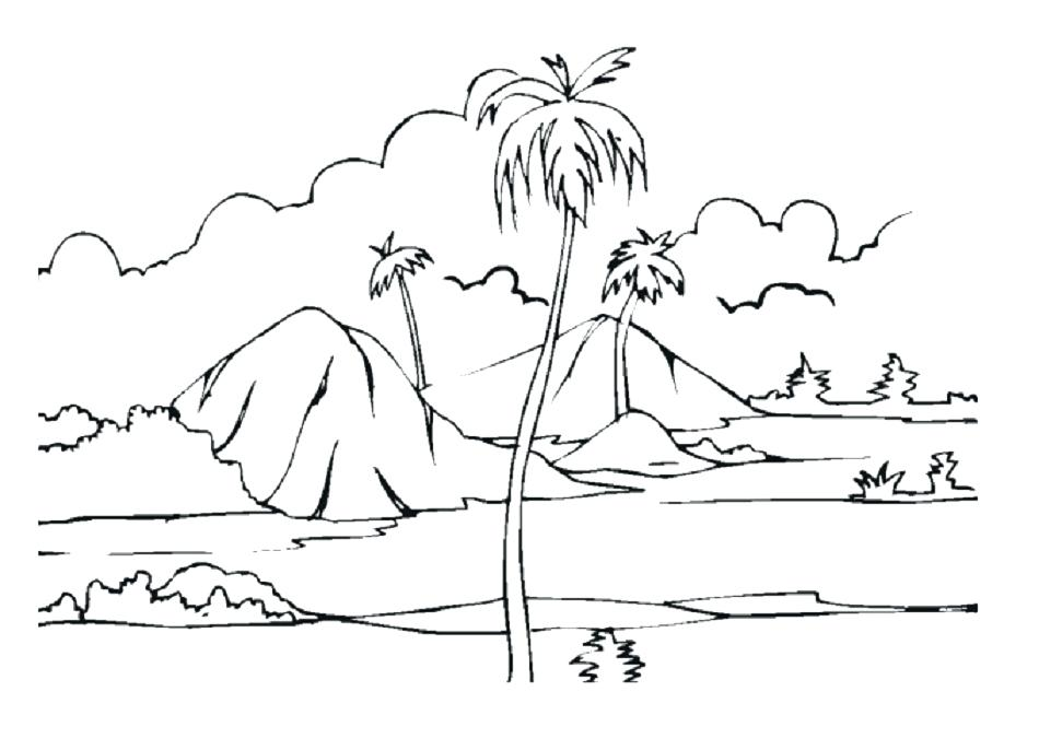 950x686 How To Draw A Desert Landscape Desert Coloring Pages Landscape