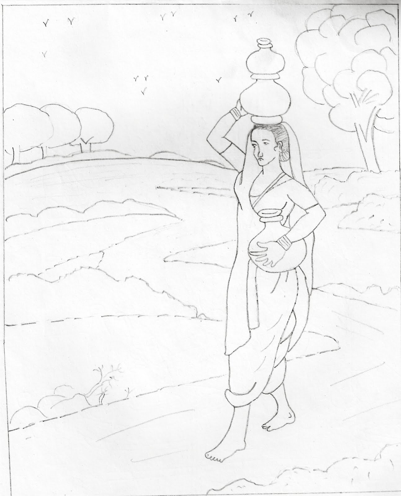 1293x1600 Pencil Sketch Woman Carrying The Earthen Pot Filled With Water