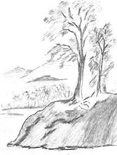 232x305 Drawn scenery black and white