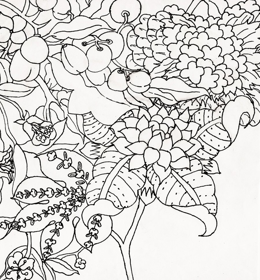 900x968 Flower Garden Drawings