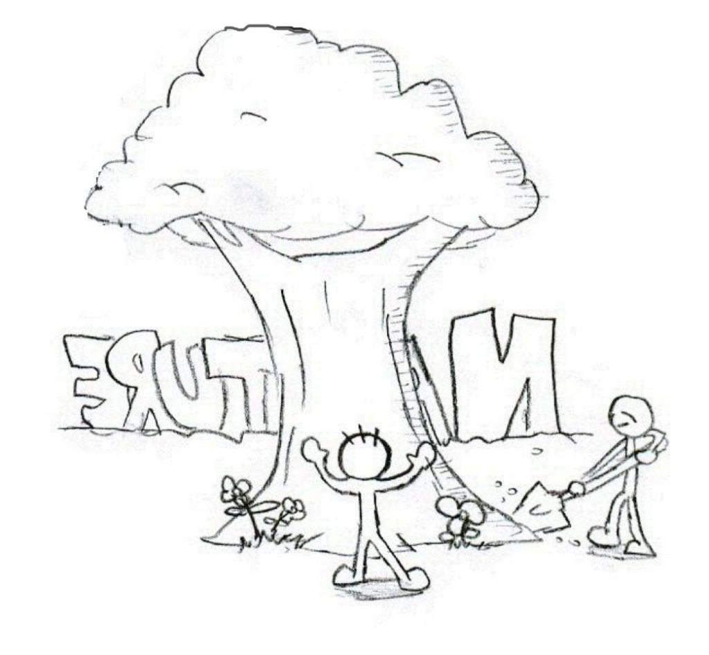 1024x947 Nature Drawing For Children Pencil Drawings Nature Scenery Pencil