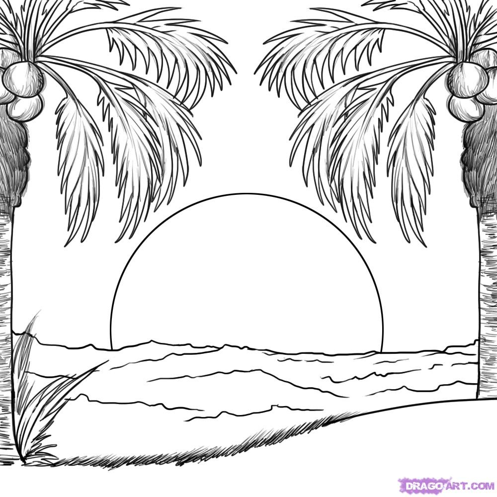 1000x1000 Outline Drawing For Scenery How To Draw A Sunset, Step By Step