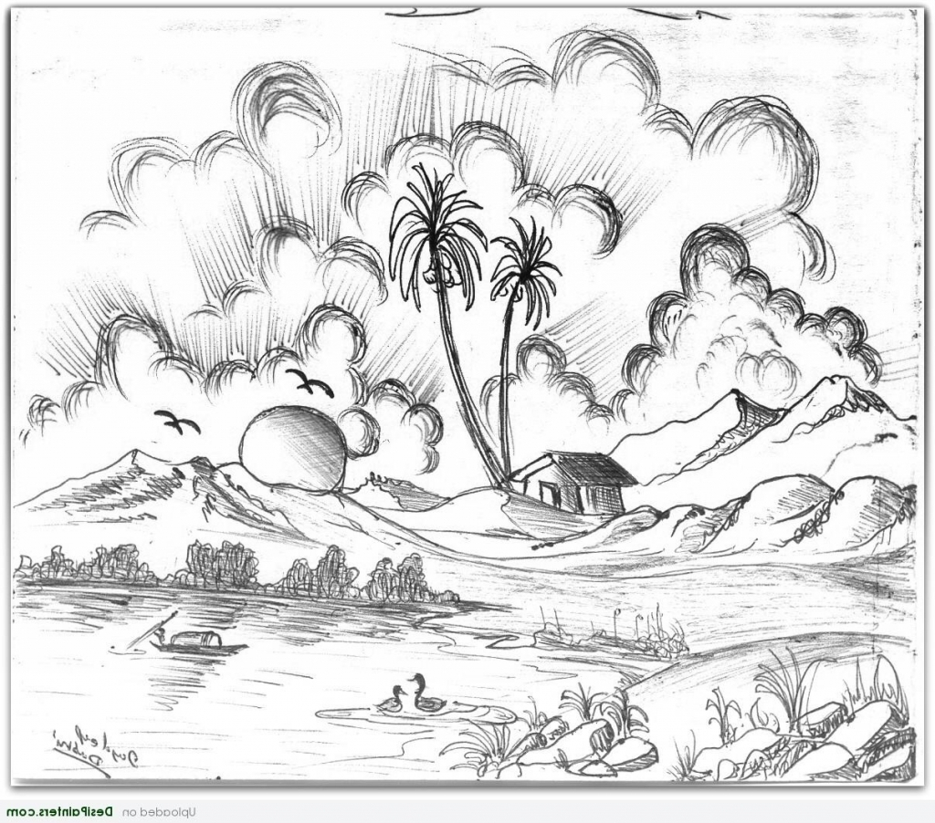 1024x902 Pencil Drawings Of Nature Nature Scenery Pencil Drawing