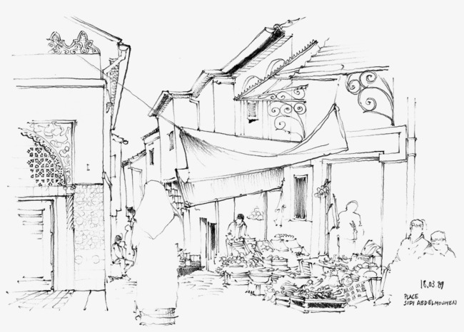 650x466 Scene Sketch Line Drawing, Scene Painting, Hand Painted Scenery