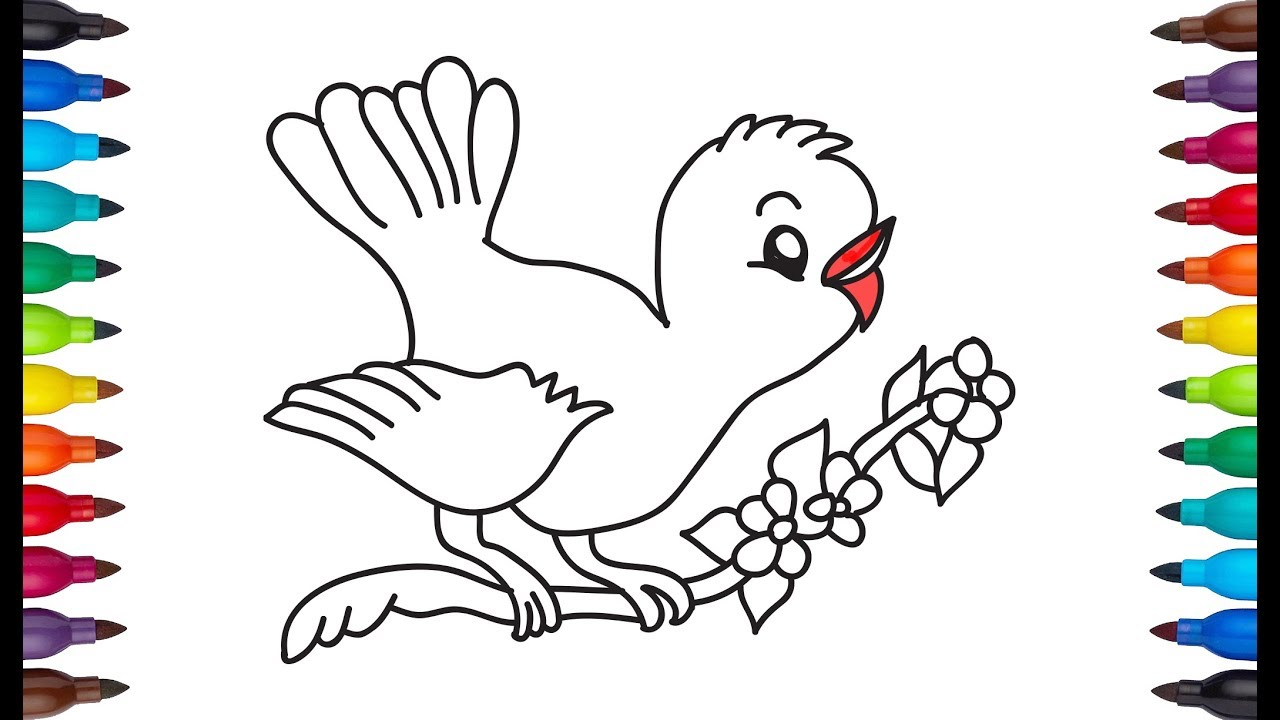 1280x720 How To Draw Bird Cute Bird Drawing For Kids Very Easy Amp Simple