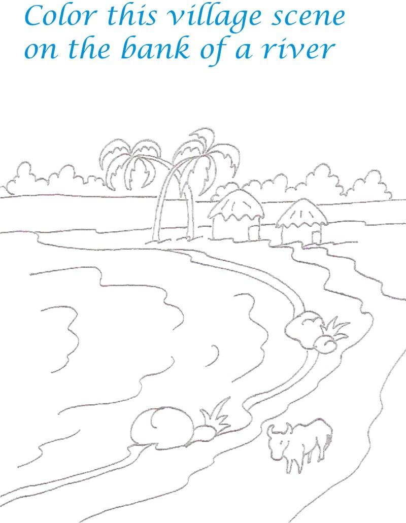 800x1031 Kerala Village Scenery Coloring Printable