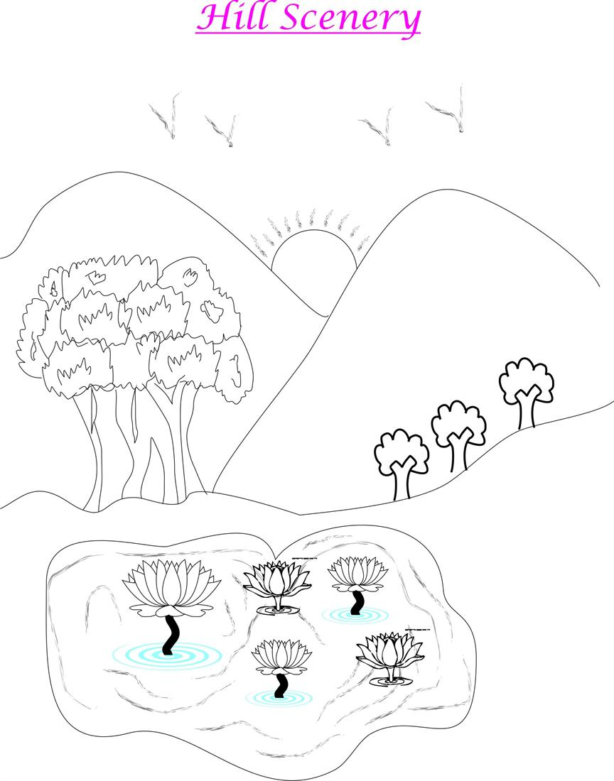 864x1100 Hill scenery coloring page for kids