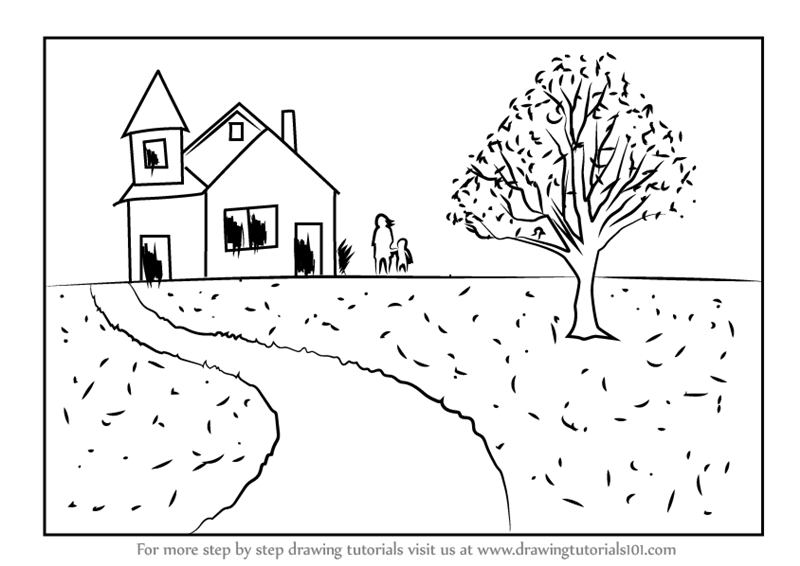 800x566 Learn How to Draw a House Scenery (Scenes) Step by Step Drawing
