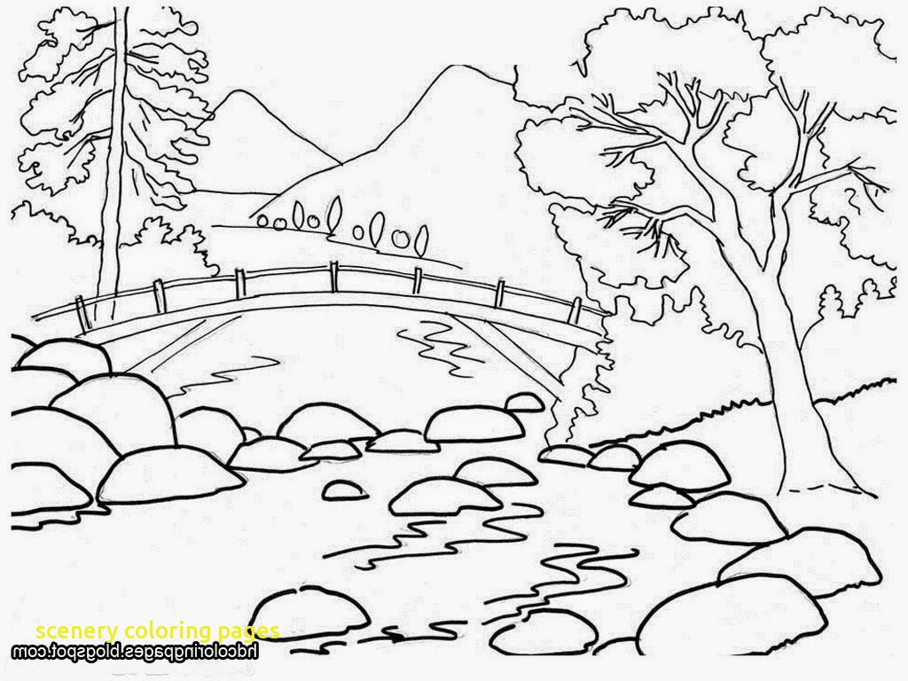 1024x768 Nature Drawing For Kids Scenery Coloring Pages With Nature For