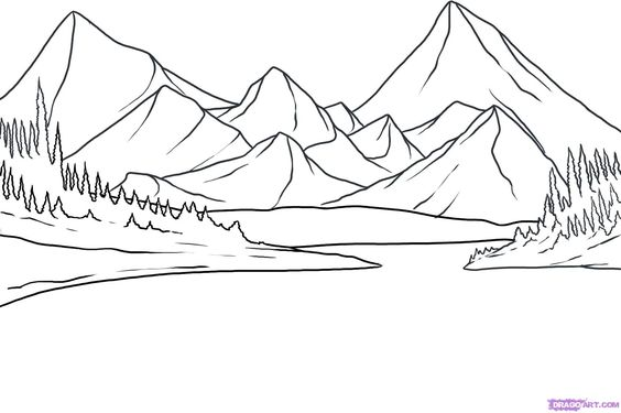 564x375 The first step to drawing a lake is drawing the guidelines for the