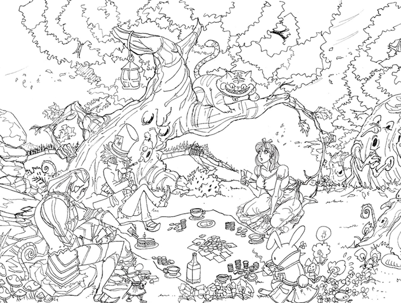 791x599 Drawn Alice In Wonderland Scenery