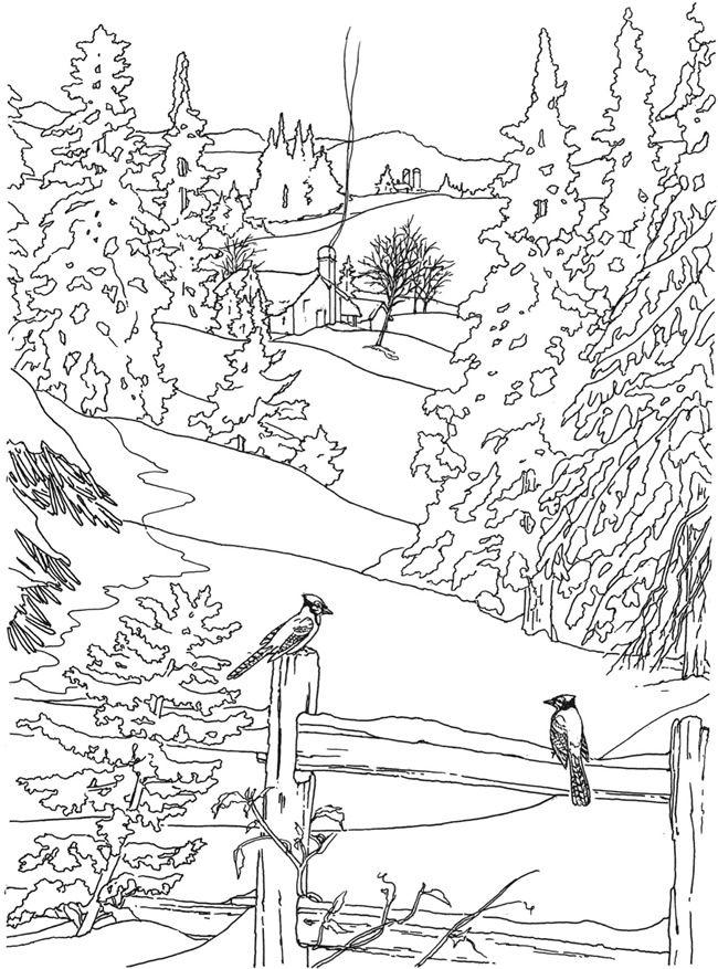650x877 Drawn Countyside Winter Scenery