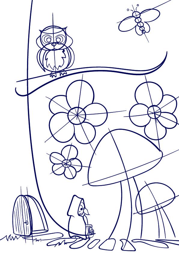 596x842 Drawn Mushroom Scenery