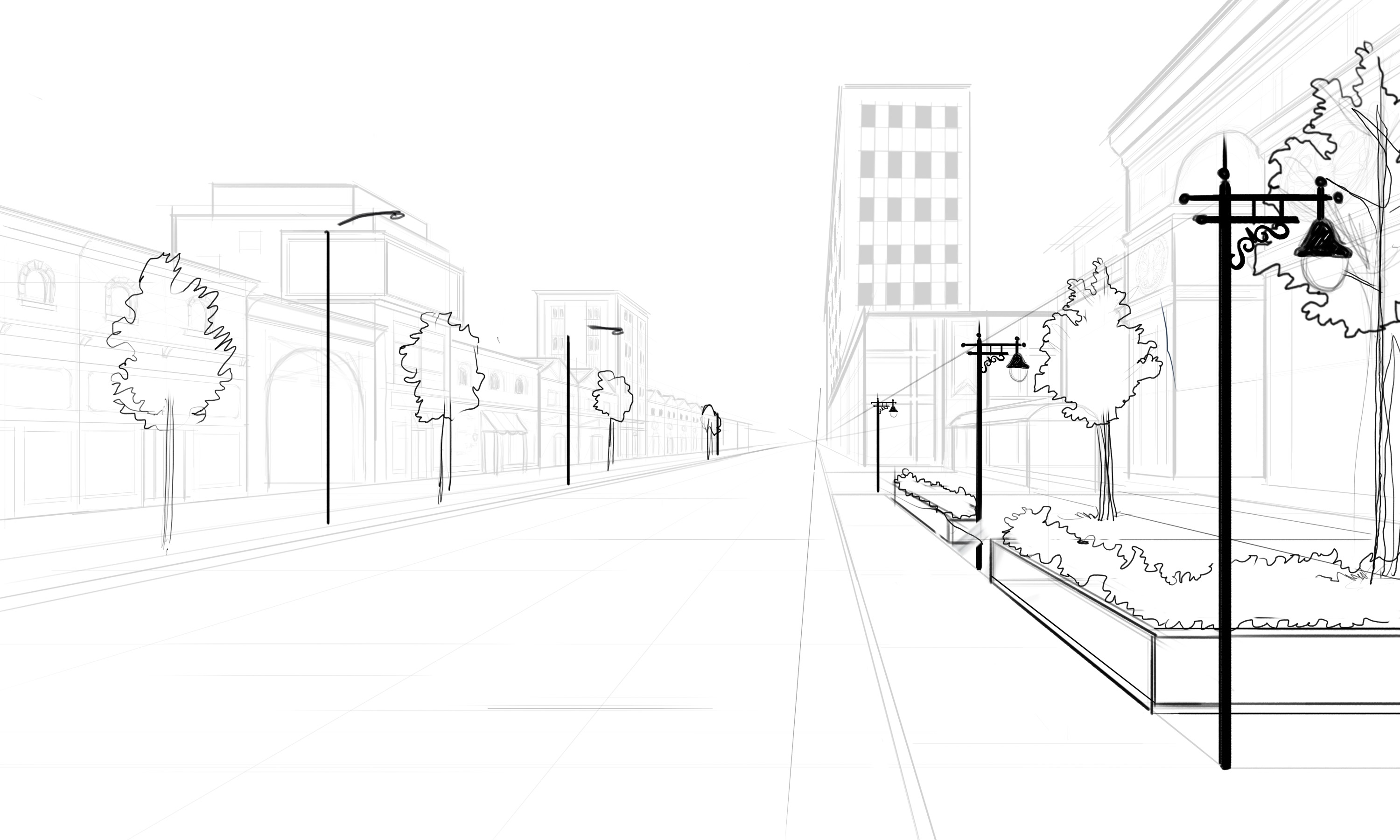 3000x1800 Drawn Scenery Street View