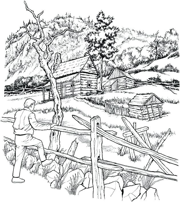 630x706 Christmas Scenery Coloring Pages Free Landscape Page For Adults