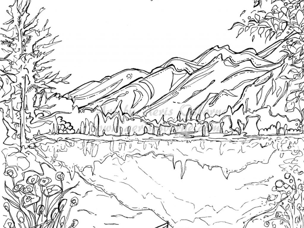 1024x768 Printable Winter Scene Coloring Beautiful Scenery Pages For Adults