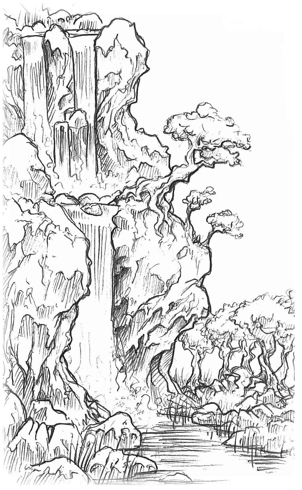 1012x1644 Pictures Line Drawings Of Waterfalls,