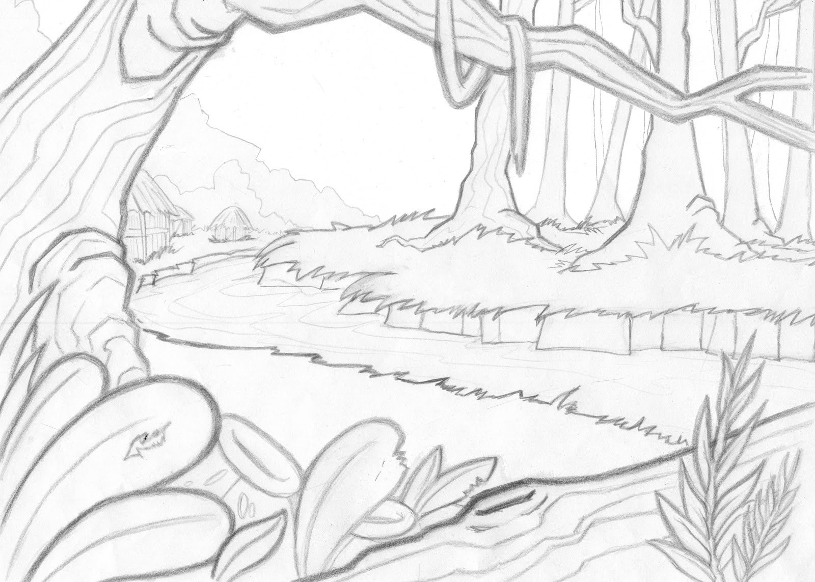 1600x1143 Drawing Of A Forest Scene Drawn Jungle Jungle Scenery