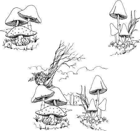 450x422 Drawn Mushroom Scenery