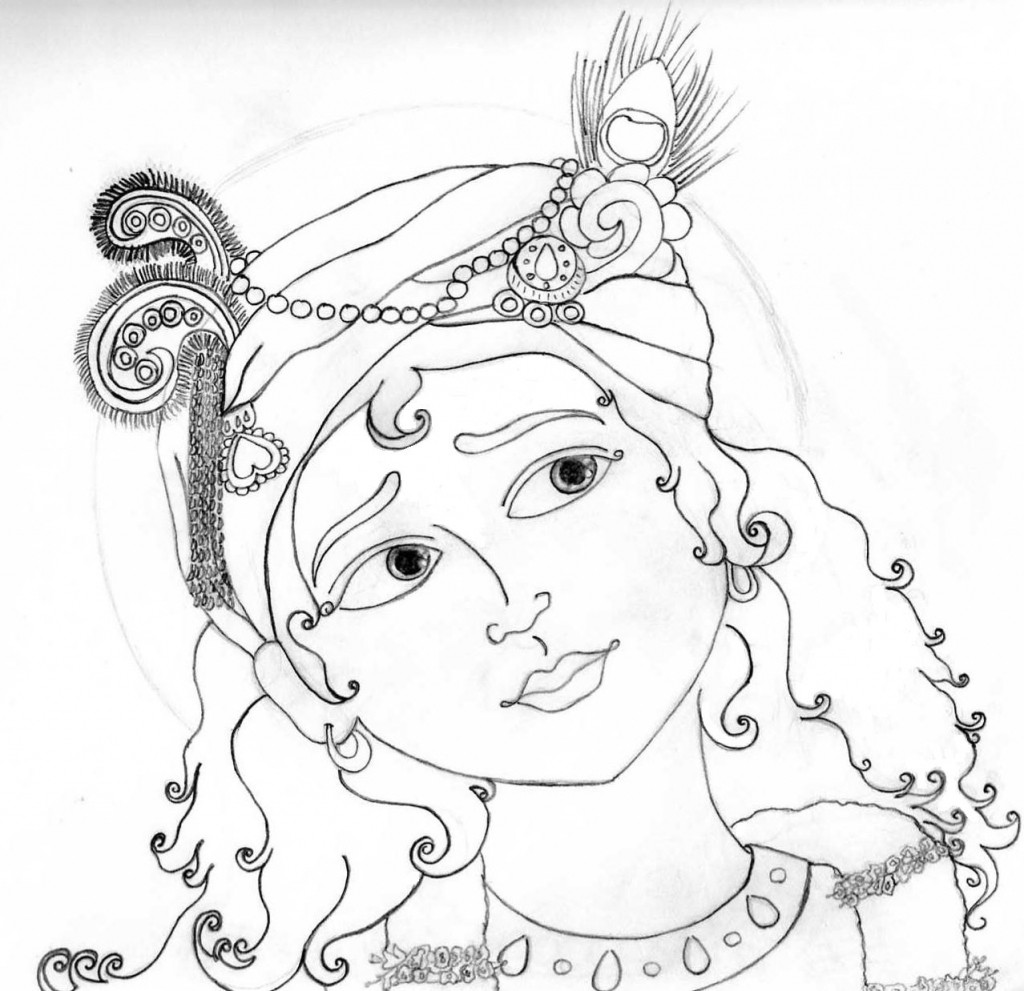 1024x991 Drawing For Scenery Pencil Sketch Of Krishna