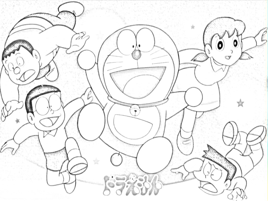 1024x768 Painting Scenery Of Doraemon And His Friends