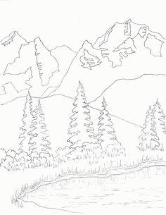 236x305 Printable Mountain Coloring Page. Free Pdf Download